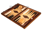 Walnut and Oak Backgammon Set - Large - Black