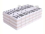 Silverman & Co. Double 9 Large White Domino Set - Brown Case