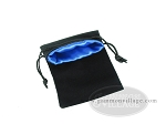 Black Velvet Dice Bag With Blue Satin Lining - (5 in. x 8 in.)