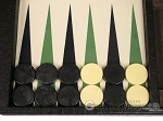 GammonVillage Tournament Backgammon Set - Champion Class - Black with Cream Field