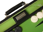 GammonVillage Tournament Backgammon Set - Champion Class - Black with Green Field