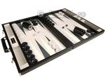 GammonVillage Tournament Backgammon Set - Champion Class - Black Case - Grey Field