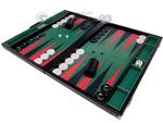 GammonVillage Tournament Backgammon Set - Club Class - Black Case with Green Field - 2-inch Checkers