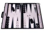 GammonVillage Tournament Backgammon Set - Club Class - Black Case with Grey Field - 2-inch Checkers