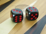 5/8 in. Rounded High Gloss Solid Dice - Black/Red (1 pair)