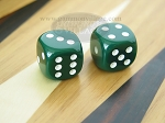 1/2 in. Rounded High Gloss Solid Dice - Green (1 pair)