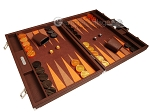 Hector Saxe Epi Leatherette Backgammon Set - Brown