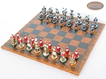 Magnificent Chessmen with Patterned Italian Leatherette Chess Board