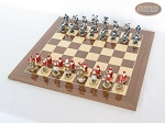 Magnificent Chessmen with Spanish Lacquered Chess Board [Wood]