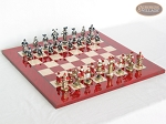 Magnificent Chessmen with Italian Lacquered Chess Board [Red]