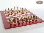 Champion Brass Staunton Chessmen with Italian Lacquered Chess Board [Red]