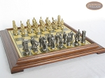 Brass Roman Chessmen with Italian Brass Chess Board [Raised]