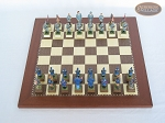 American Civil War Chessmen with Spanish Traditional Chess Board [Small]
