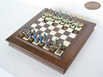 American Civil War Chessmen with Italian Alabaster Chess Board with Storage