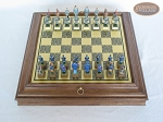 American Civil War Chessmen with Italian Brass Board with Storage