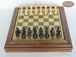 Professional Staunton Maple Chessmen with Italian Brass Chess Board with Storage