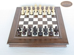 Professional Staunton Maple Chessmen with Italian Alabaster Chess Board with Storage