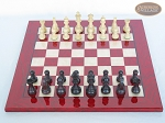 Professional Staunton Maple Chessmen with Italian Lacquered Chess Board [Red]