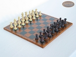 Professional Staunton Maple Chessmen with Patterned Italian Leatherette Chess Board