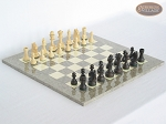 Executive Staunton Chessmen with Spanish Lacquered Chess Board [Grey]