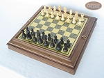 Executive Staunton Chessmen with Italian Brass Chess Board with Storage