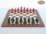Red and Black Maple Staunton Chessmen with Spanish Traditional Chess Board [Small]