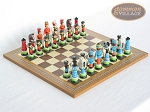 Hungarian Szur Chessmen with Spanish Mosaic Chess Board
