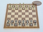 Italian Brass/Silver Staunton Chessmen with Deluxe Wood Chess Board