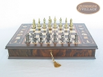 Teutonic Brass/Silver Chessmen with Italian Chess Board with Storage [Large]