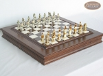 The Wild West Chessmen with Italian Alabaster Chess Board with Storage