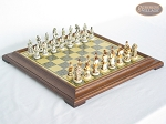 The Wild West Chessmen with Italian Brass Chess Board [Raised]