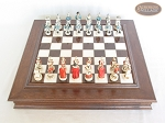 The Napoleon Chessmen with Italian Alabaster Chess Board with Storage