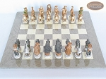 Jungle Life Chessmen with Large Spanish Lacquered Chess Board [Grey]