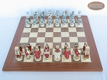 Egyptian Chessmen with Spanish Traditional Chess Board [Extra Large]