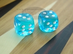 3/8 in. Rounded High Gloss Lucent Dice - Turquoise (1 pair)