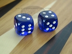 5/8 in. Rounded High Gloss Lucent Dice - Blue (1 pair)