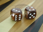 1/2 in. Rounded High Gloss Flecked Dice - Brown (1 pair)
