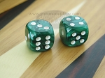 5/8 in. Rounded High Gloss Flecked Dice - Green (1 pair)