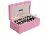 Silverman & Co. Double 9 Large Black Domino Set - Pink Case