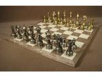 Staunton Metal Chessmen with Gray Briarwood Chess Board