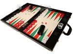 Wycliffe Brothers® 21-inch Tournament Backgammon Set - Black Croco Case with Cream Field (Green Points) - Gen III