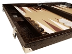 Wycliffe Brothers® 21-inch Tournament Backgammon Set - Brown Croco Case with Beige Field - Gen III