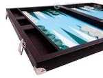 Wycliffe Brothers® 21-inch Tournament Backgammon Set - Brown Case with Light Blue Field - Masters Edition