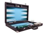 Wycliffe Brothers® Tournament Backgammon Set - Brown Case with Light Blue Field - Masters Edition