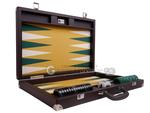 Wycliffe Brothers® 21-inch Tournament Backgammon Set - Brown Case with Mustard  Field - Masters  Edition