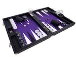 Wycliffe Brothers® Tournament Backgammon Set - Black Case with Purple Field - Masters Edition
