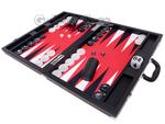 Wycliffe Brothers® 21-inch Tournament Backgammon Set - Black Case with Red Field - Masters Edition