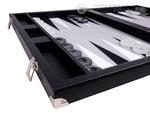 Wycliffe Brothers® 21-inch Tournament Backgammon Set - Black Case with Grey Field - Masters Edition
