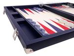 Wycliffe Brothers® Tournament Backgammon Set - Blue Case with Vanilla Field - Masters Edition