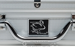 White Swan Mah Jongg™ - Ivory Tiles - Modern Pusher Arms - Wheeled Aluminum Case - Silver